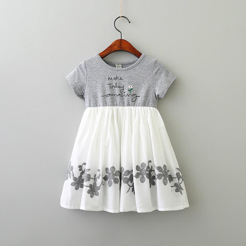 새로운 도착 소녀 드레스 키즈 부티크 옷 편지 꽃 자수 디자인 인쇄 여자 짧은 소매 드레스
