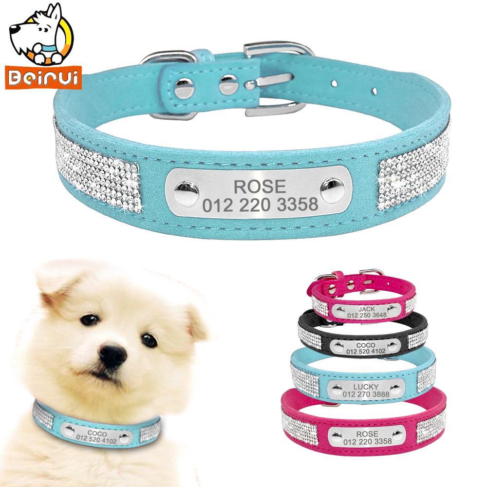 Замша ошейник горный хрусталь собаки кошка персонализированные ID ошейники индивидуальные для малых средних Пэт щенок ярко-розовый синий черный