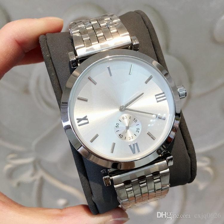 Alta qualidade New Top luxo Moda masculina de quartzo Relógio de Pulso de Aço Inoxidável Assista Esportes Masculinos Relógios de alta qualidade amantes 'assistir melhores presentes