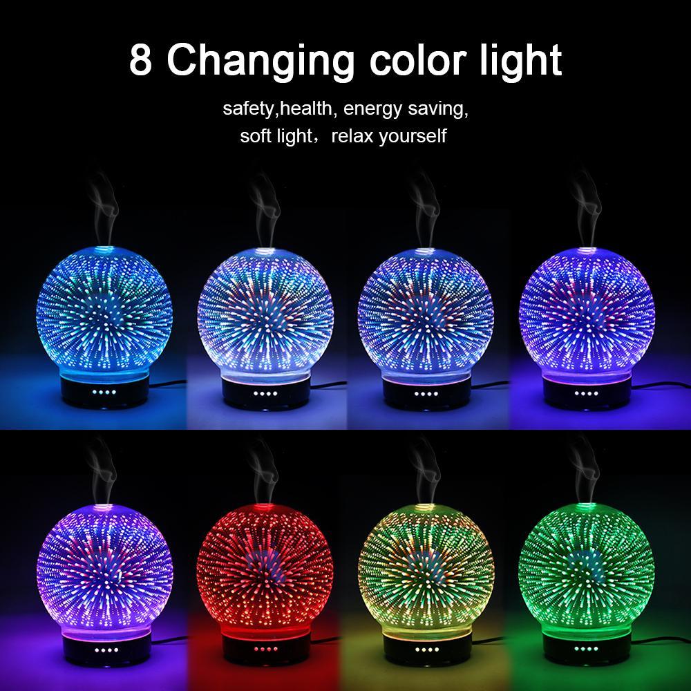 Ledertek 100ml 3D Aromatico Luce Notturna Aroma Olio Essenziale Diffusore Ultrasuoni Freddo Mist Umidificatore con Luce a LED Mood a 8 Colori