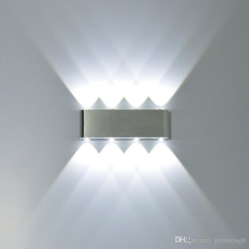 8 W Moderno Retângulo LED Arandelas de Parede Luminária de Alumínio de Alta Potência 8 LED Acima Para Baixo Da Lâmpada de Parede Spot Light Stair Light 2 pcs