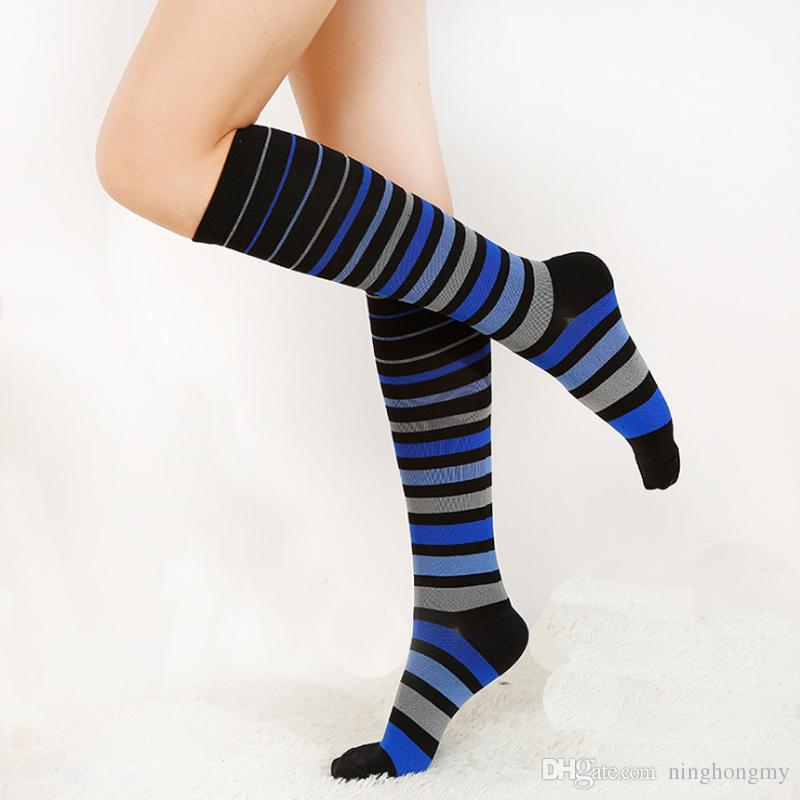 Compression Socks for Men & Women Athletic Socks for Best Graduated Nursing Travel Running Colored stripe long tube Sports Socks