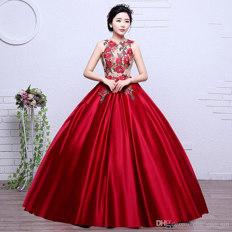 Colorful Organza Hot Sale New Style Red Embroidery Girls Wedding Dress 2018 O Neck Bridal Boat Gown Vestidos De Novia Lace Bridal Dresses Mature