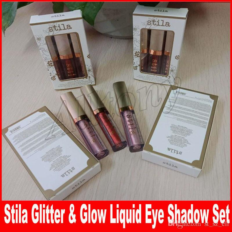 Stila Glitter & Glow Liquid Eye shadow set 3pcs/set Glitter On The Go Limited edition Eyeshadow Kit