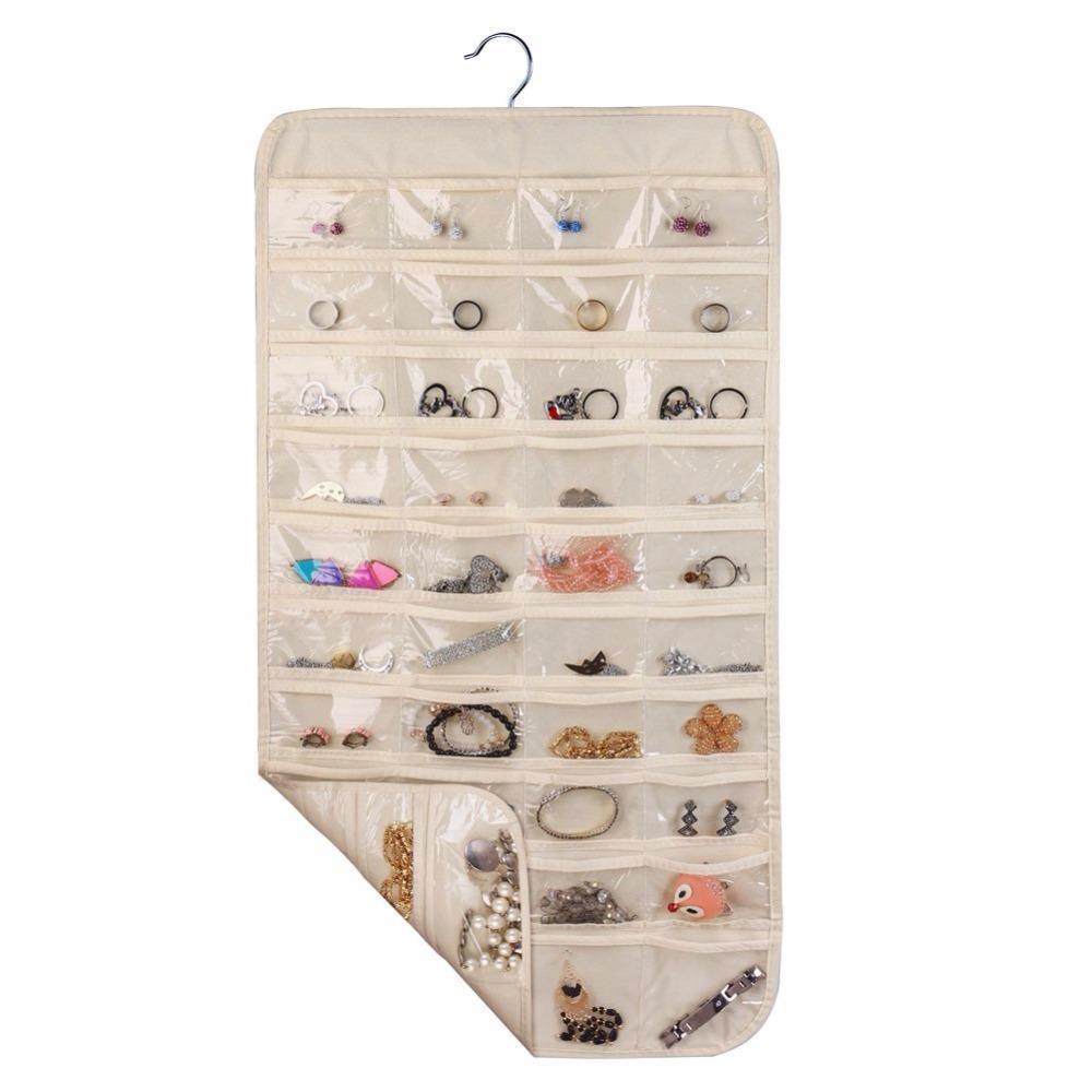 Hanging Jewelry Organizer 80 Pocket Home Organizador de pared Natural Canvas Ultra para sostener joyas White Yellow Beige