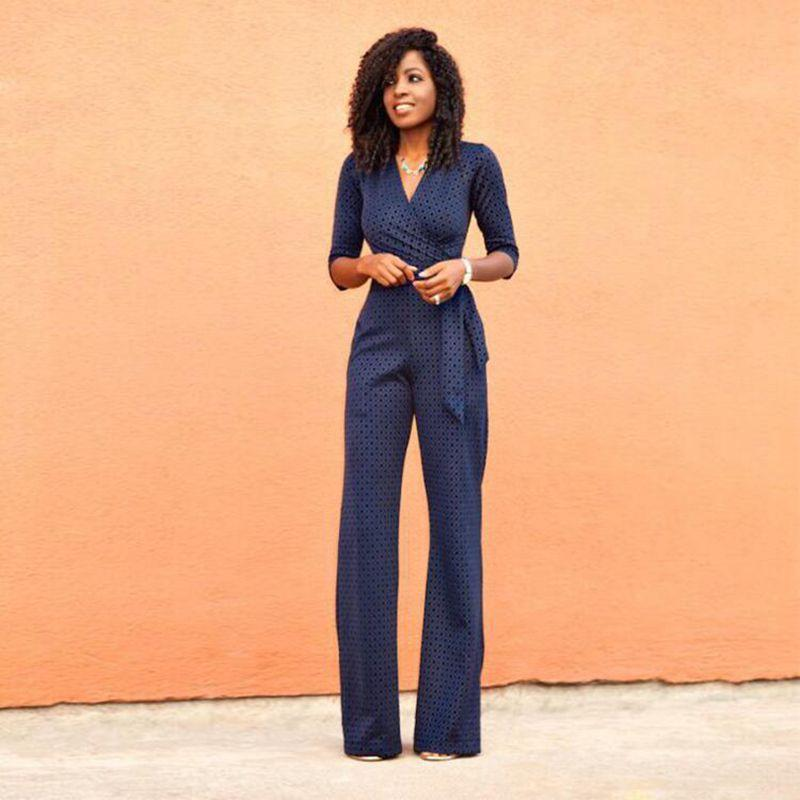 New Fashion Sexy Polka Dot V Neck Formal Jumpsuits For Women 2018 Sashes Full Length Slim Summer Office Rompers Womens Jumpsuit