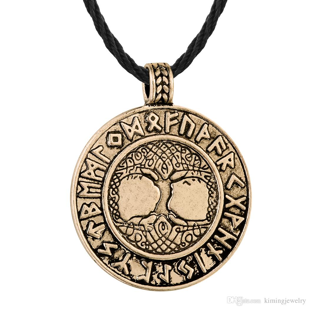 5pcs/lot The Tree of Life Runes Pendant Necklace Nordic Talisman Colier For Male Man Unisex Rerto Old Jewelry Metal Round Amulet