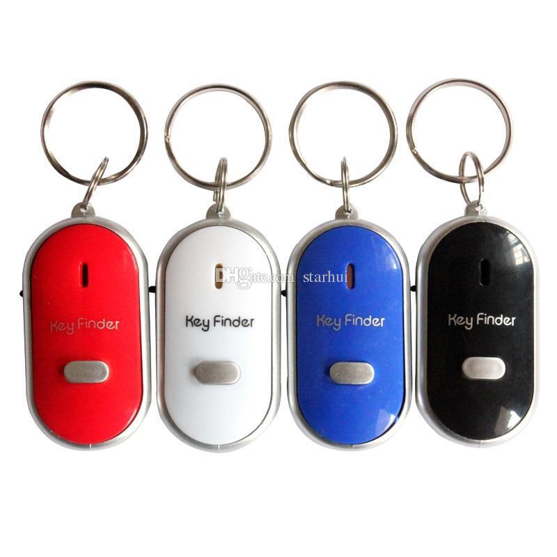 뜨거운 판매 안티 분실 LED 키 찾기 로케이터 4 가지 색상 음성 소리 휘파람 제어 로케이터 키 체인 제어 토치 카드 블리스 터 팩 WX9-573
