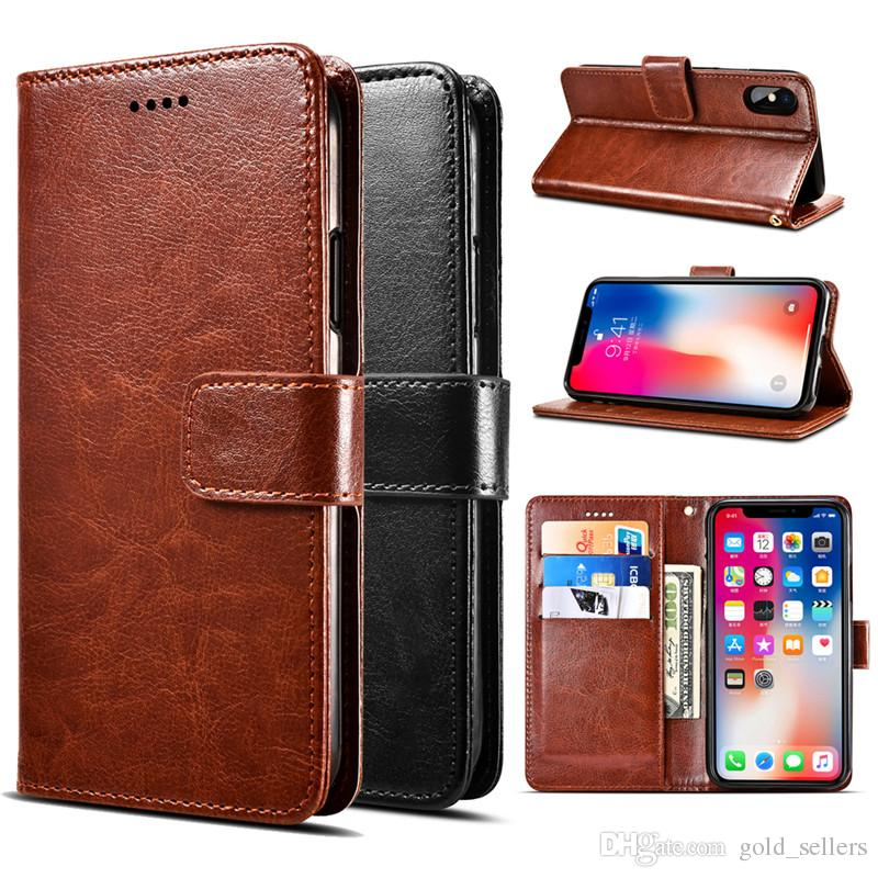 Flip PU Leather Phone Case With Wallet Card Slot Cover Cases For iPhone xs max 6s 7 8 Plus xr Samsung Note 9 S7 edge S6 S8 With Kickstand