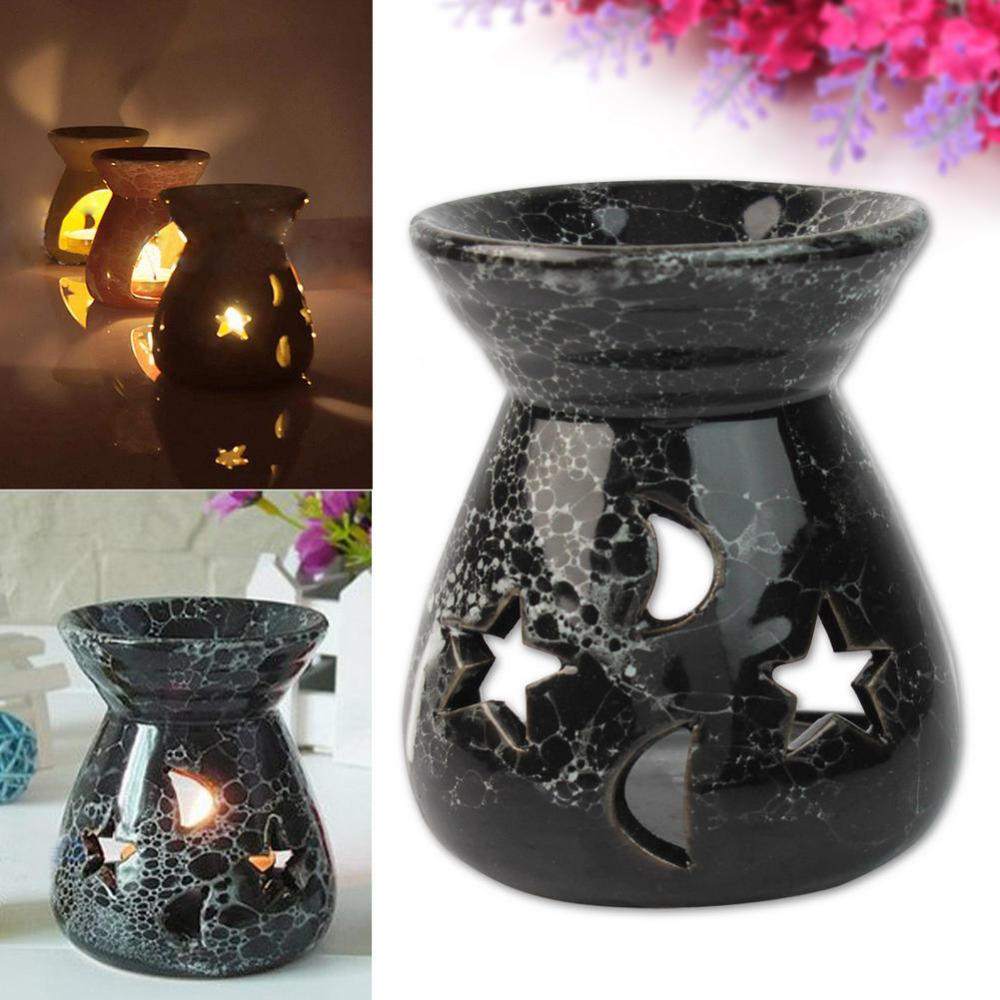 Fashion Black Ceramic Scent Essential Oil Burner Lavender Fragrance Aromatherapy Diffuser Gift