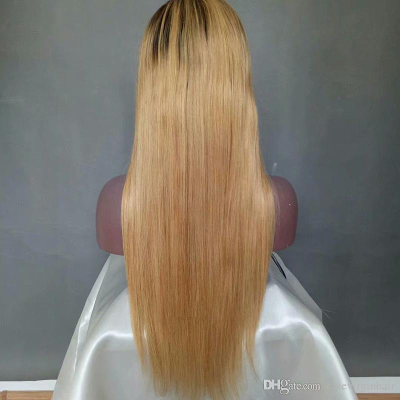 Two Tone Color 1B 27 Long Silky Straight Human Hair Lace Front Wigs Pre-Plucked Brazilian Black Roots Ombre Honey Blonde Lace Front Wigs