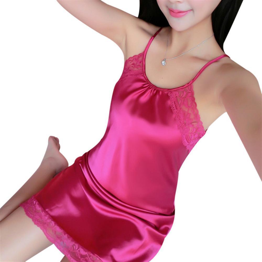 Womens Silk Nightgowns Sleepwear Satin Night Dress Babydoll Sexy Lingerie Nightdress Lace Sleepshirt Night Gown