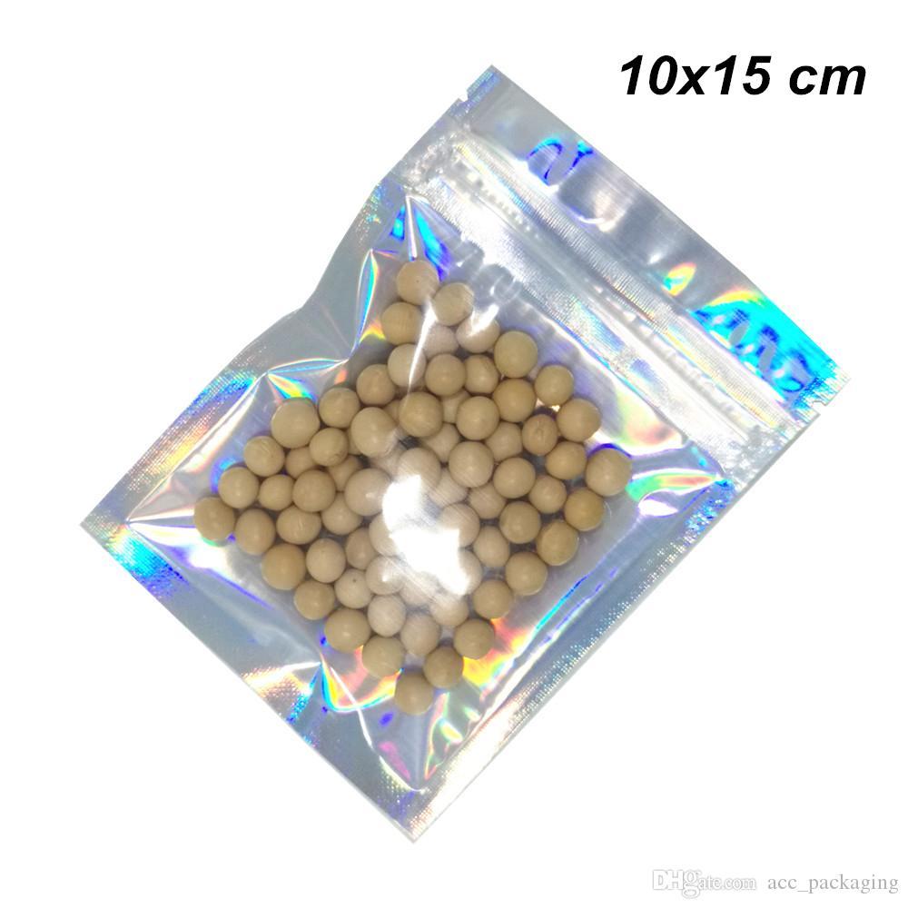10x15cm 100 Pcs Lot Glittery da folha de alumínio translúcido Food Packaging Zipper Bag para Beans porcas secadas alimento seco Mylar folha reutilizáveis malotes