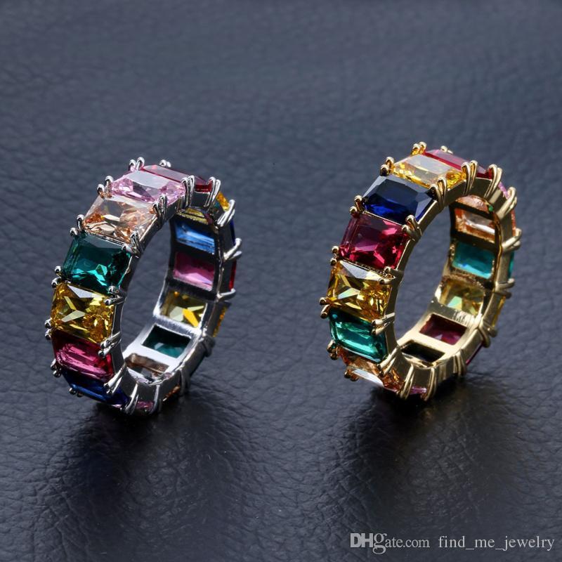 Quadrado colorido Zircon Anéis Homens Mulheres Hip Hop Cobre Anel Largo Com Pedra Lateral Geométrica Brilhante Banhado A Ouro Jóias Acessórios Atacado