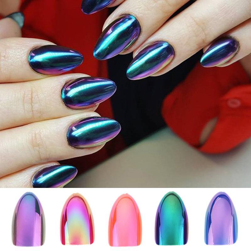 Chrome Nails STILETTO Fake Nail Tips 12pcs/Box Metallic False Nail Art Manicure Press on Nails Mirror Look Y18101003
