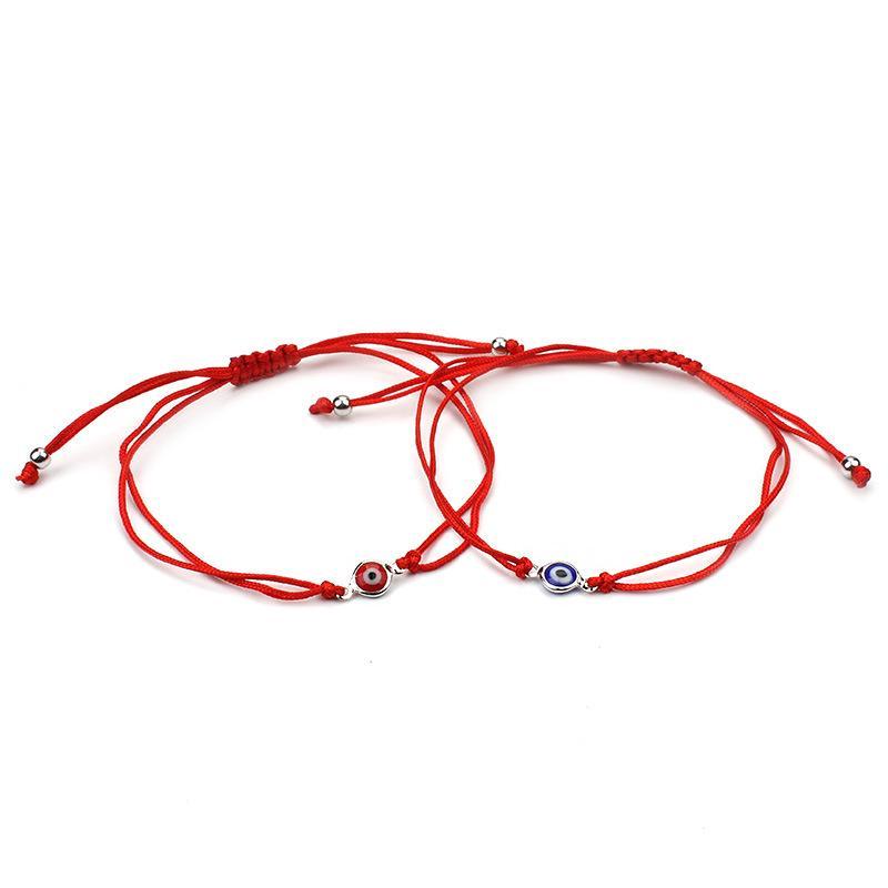 Novo Comprimento Ajustável Fina Fio Vermelho Mal Olho Encantos Pulseira Corda Vermelha Corda Trançada Pulseiras Para Mulheres Homens Boa Sorte Jóias