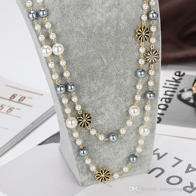 Autumn winter flowers pearl sweater chain daisy flower pearl multi-layer long necklace clothing accessories hot temperament female jewelry