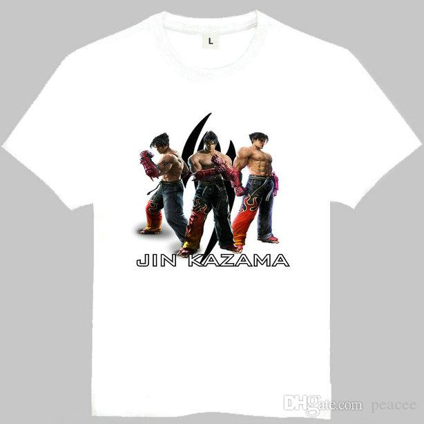 Tekken T Shirt Jin Kazama Short Sleeve Gown Fight Game Tees Unisex Clothing Quality Cotton Fabric Tshirt White Shirts Funny T Shirts For Men From Peacee 15 06 Dhgate Com