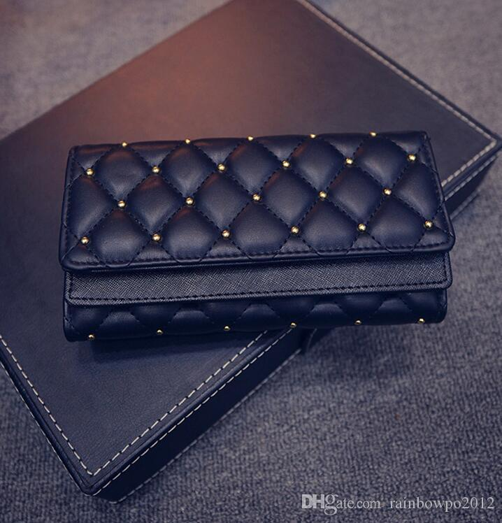 Factory outlet brand handbag leather wallet cover double personality hand fashion women classic Argyle rivet Wallet Purse embroidered lin