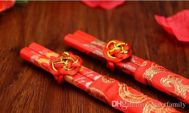 New Wood Chinese chopsticks,printing both the Double Happiness and Dragon,Wedding chopsticks favor
