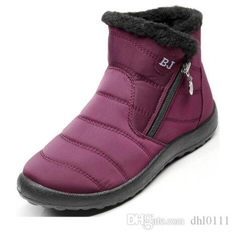 2018 bottes de neige femme chaussures hiver femme fourrure chaude résistant à l'eau supérieure taille plus mode unique semelle antidérapante nouveau style