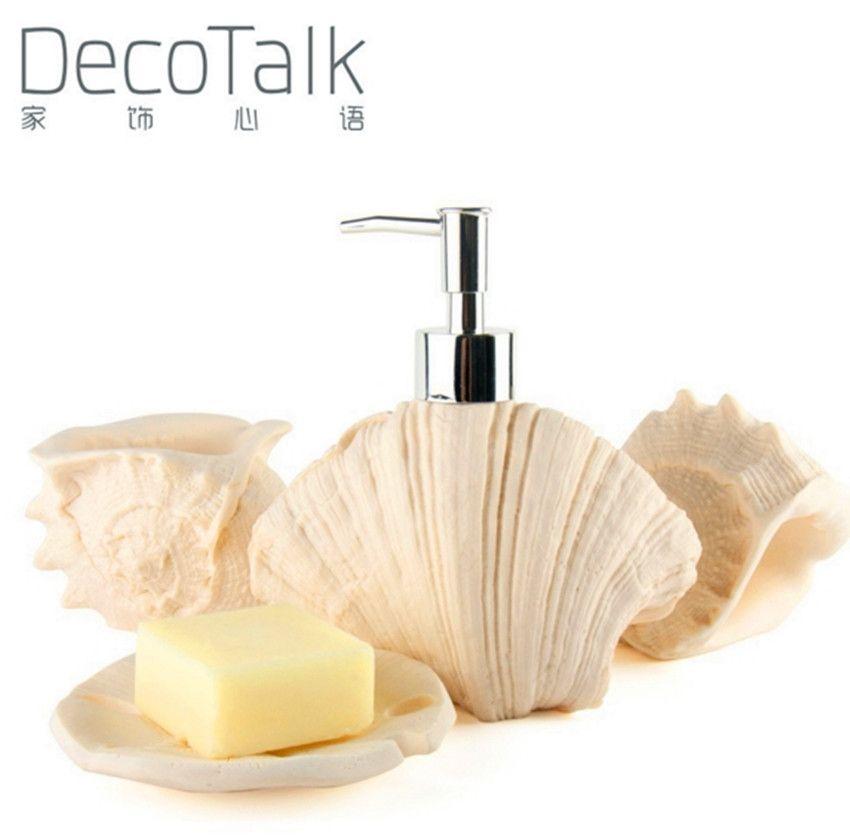 Nordic Style Decotalk Accessori per il bagno Set 4 pezzi Set Set di arenaria Bagno forniture Kit Bianco Beige Colors Seashell Home Decor