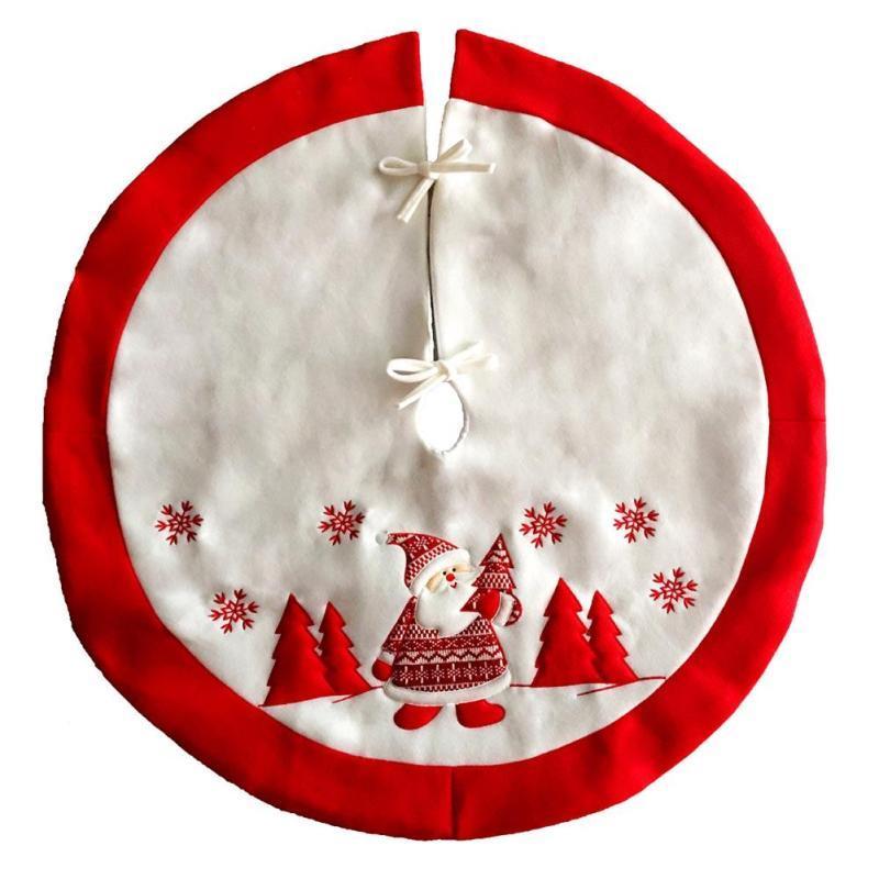 90 cm de diámetro rojo falda del árbol de Papá Noel falda del árbol de Navidad Decoración de Navidad Base de la cubierta de Navidad Delantales Suministros