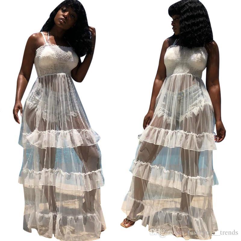 Sexy Women's Clothing Mesh Beach Dress Sleeveless Mesh Club Party Dress Ruffled Strapless Romper Maxi Long Dress Vestido Longo Robe Femme