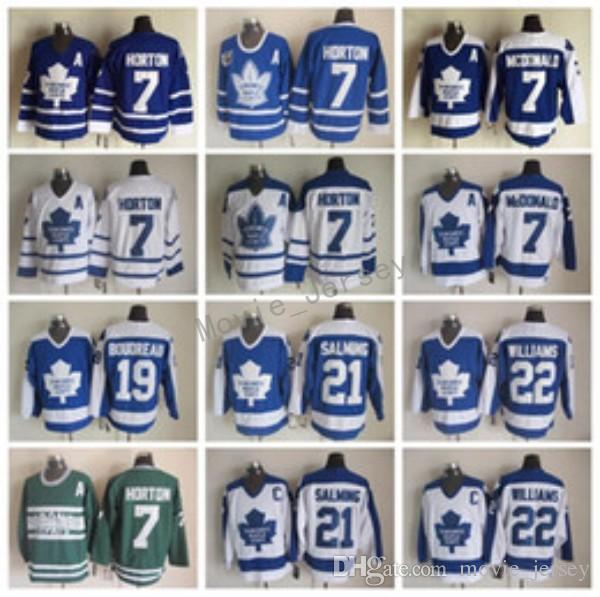 Toronto Maple Leafs Jerseys Men Vintage Hockey 22 tiger Williams 21 Borje Salming 19 Bruce Boudreau 7 Tim Horton 7 Lanny McDonald