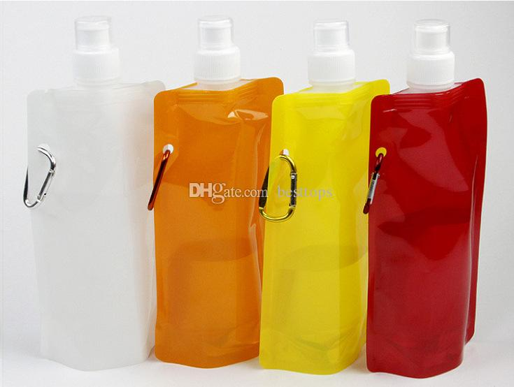 Water Bag Comes Flat Portable Foldable Bottle Outdoor Sport Supplies For Camping Free BPA WWQ