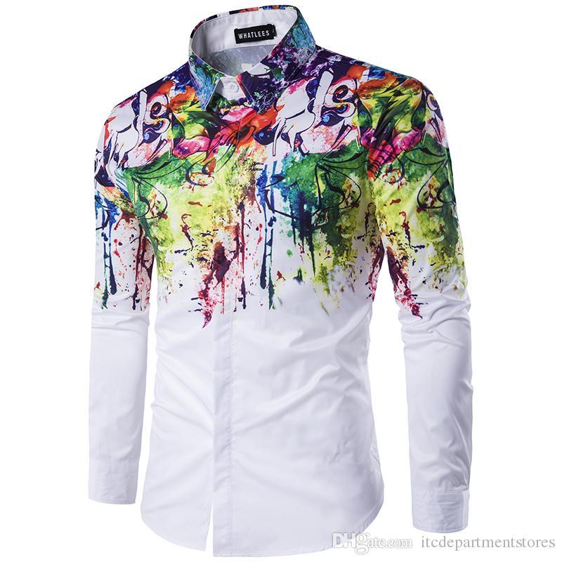 мужчины печати рубашки городской моды рубашка мужская тонкий рубашка чернила всплеск краска шаблон самосовершенствование досуг с длинным рукавом рубашки
