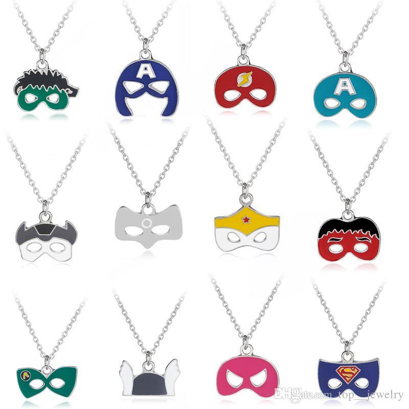 Mask Necklace Avengers Wonder Woman Lantern Superman Flash Captain America Thor Hulk Mask Face Pendants Necklace Cosplay Jewelry Wholesale