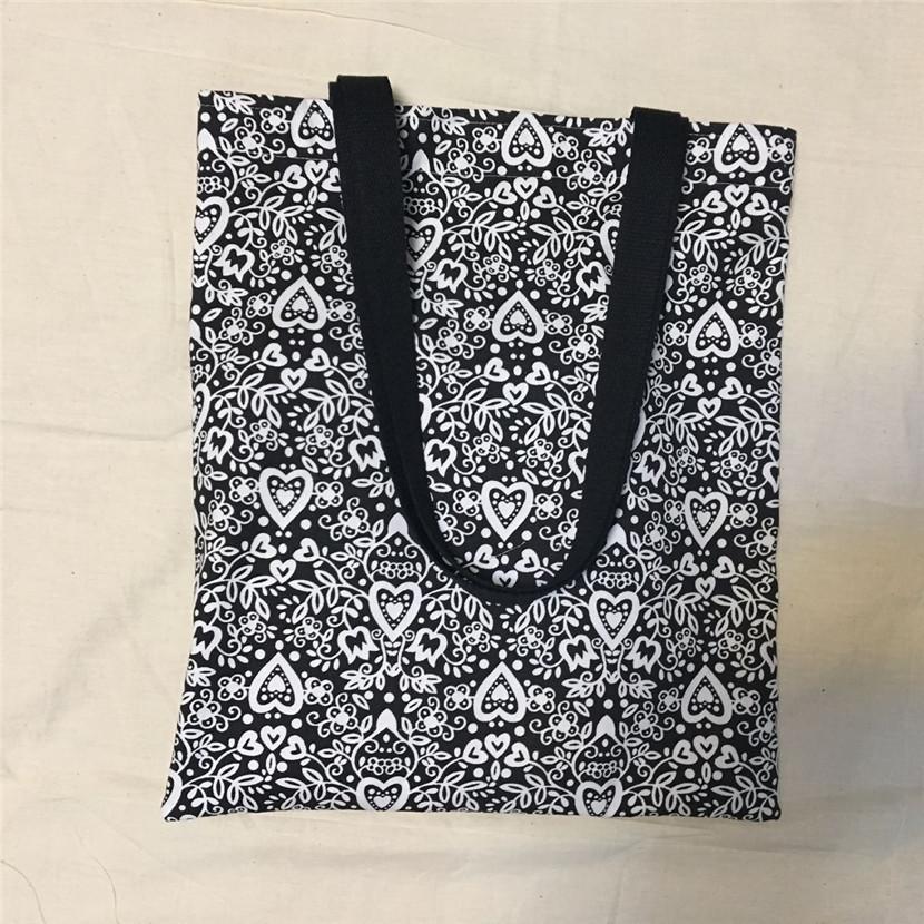 YILE NOUVEAU Unique Toile Eco Shopping Tote Sac à bandoulière Noir Blanc Coeur Fleur L8516-1