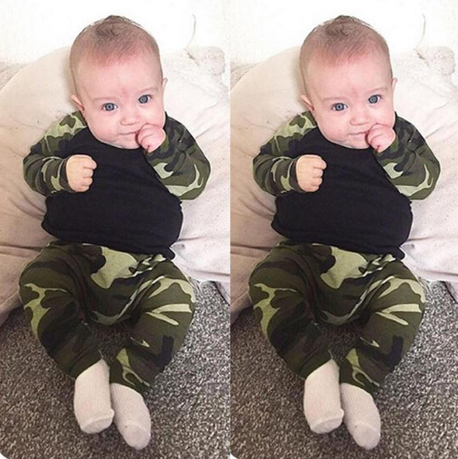 Neugeborenes Kind-Baby-Kleidung Camouflage T-Shirt Tops + Pants Outfits 2ST Set Boy Kleidung Set Herbst