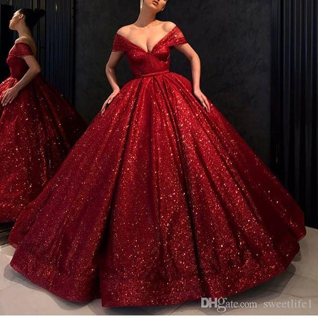 2019 Dark Red Off The Shoulder Evening Dresses Sparking Sequins Ball Gown Dubai Arabic Style Formal Occasion Dresses Prom Gown Custom Made