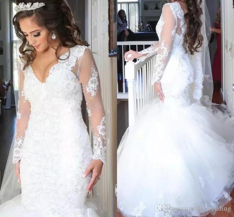 Плюс размер Кружева Свадебные платья с длинным рукавом Sexy African Нигерийские Свадебные платья V-образным вырезом с длинными рукавами полный шнурок русалка свадебные платья
