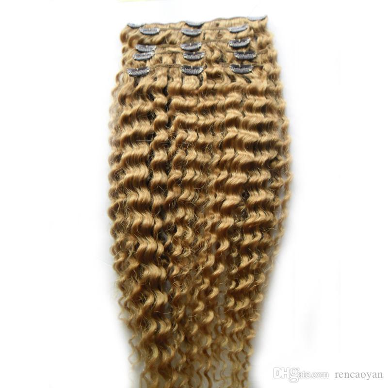 Clipe Em Extensões Do Cabelo Humano Remy Brasileiro Kinky Curly Clipe Ins 8 Pçs / set Clipes 100% Remy Do Cabelo 10-24 100g / Set