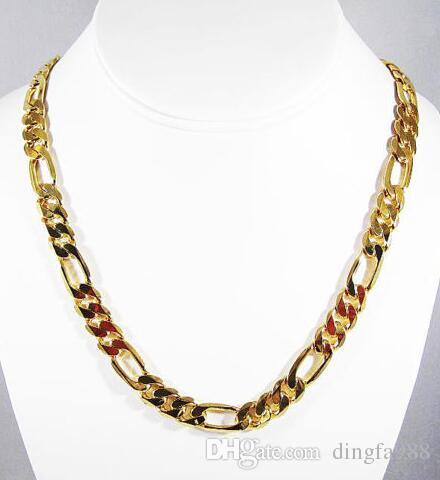 MENS 8MM 14K GOLD PLATED PREMIUM QUALITY FIGARO LINK CHAIN NECKLACE