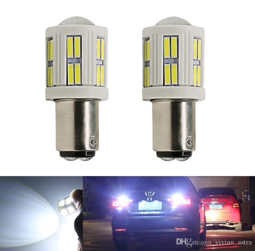 1156 1157 BA15S P21W P21 / 5W LED bianco Xenon ad alta potenza in ceramica Shell 7020 Tail 28SMD Auto Brake Lights Luci di retromarcia DRL