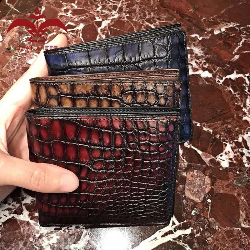 Top Genuine Carteiras De Couro De Crocodilo Feito À Mão, Marrom / Azul / Cinza / Borgonha Carteira Curta / Bolsa para Homens / Senhora Drop Shiopping