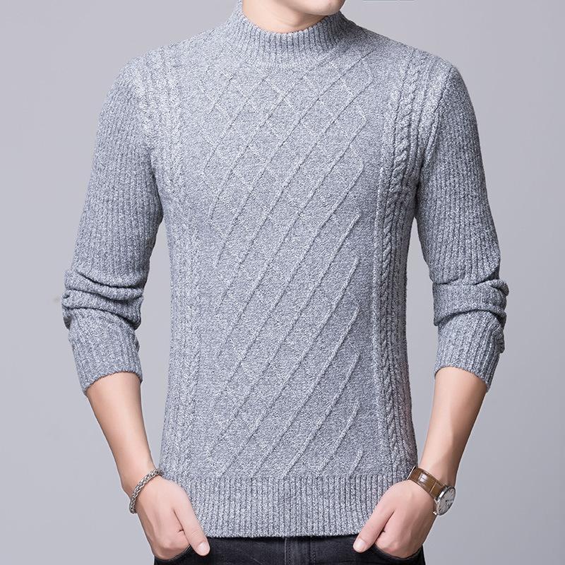 2019 NEW Korean Knitting Sweater Men Fashion Pullover Sweater Male Turtleneck Stripe Slim Fit Knit Mens Sweaters Man Pullover Man From Jiuwocute,