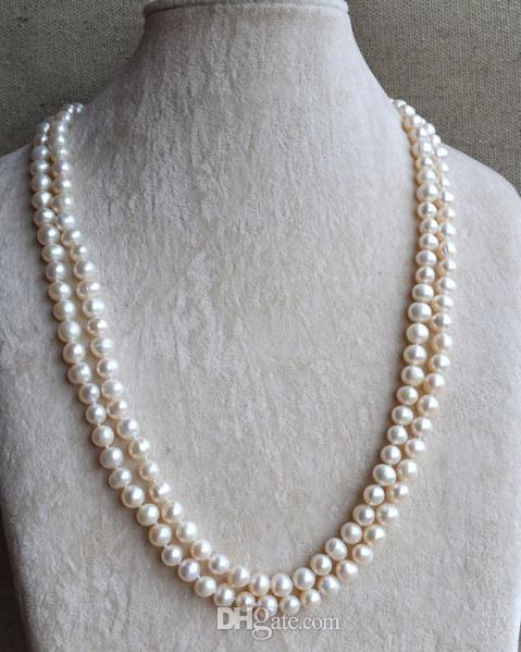 Reales al por mayor joyas de perlas, la dama de honor regalo de las mujeres collar de perlas de agua dulce natural 7-8mm 120MM