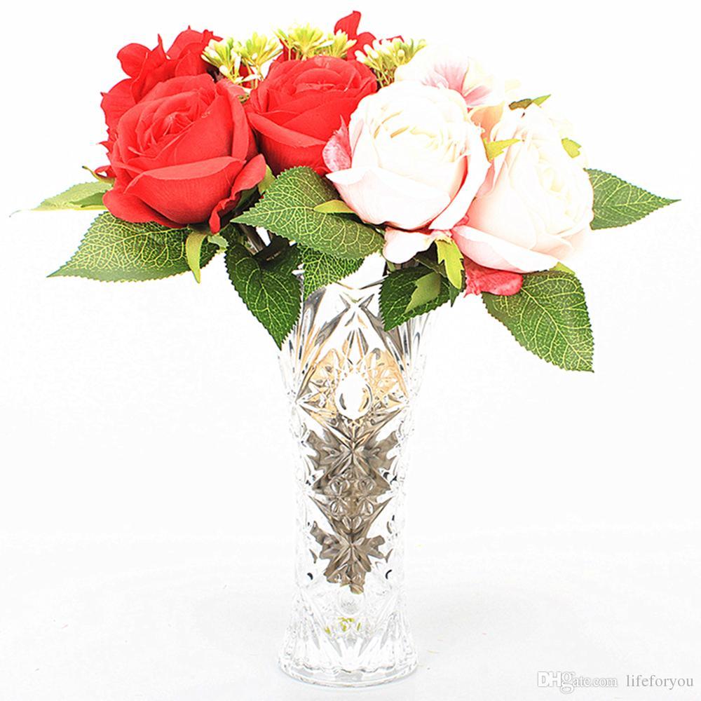 5-Head wedding bouquets rose artificial flowers bridal bouquet fake flowers for wedding party decorative flower wedding bouquet
