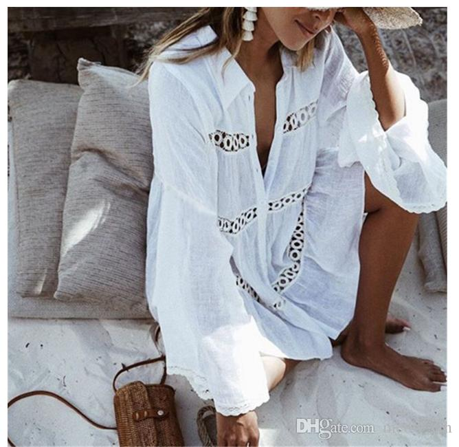 Bikini Cover Up Lace Hollow Crochet Swimsuit Beach Dress Donna 2018 Summer Ladies Cover-Ups Costume da bagno Beach Wear Tunica