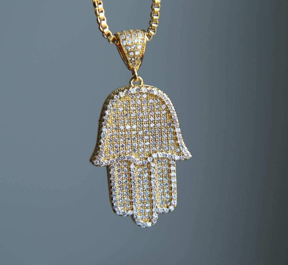 """Yüksek kaliteli hip hop bling kutu zinciri 24"""" kadınlar Erkekler çift altın gümüş rengi cz ile Hamsa eli kolye kolye dışarı buzlu"""