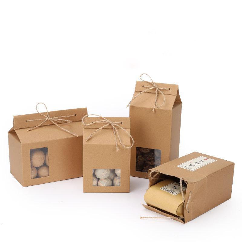 Carton d'emballage de thé en papier kraft avec fenêtre transparente gâteau boîte de rangement des aliments pour le gâteau Cookie debout sac d'emballage en papier