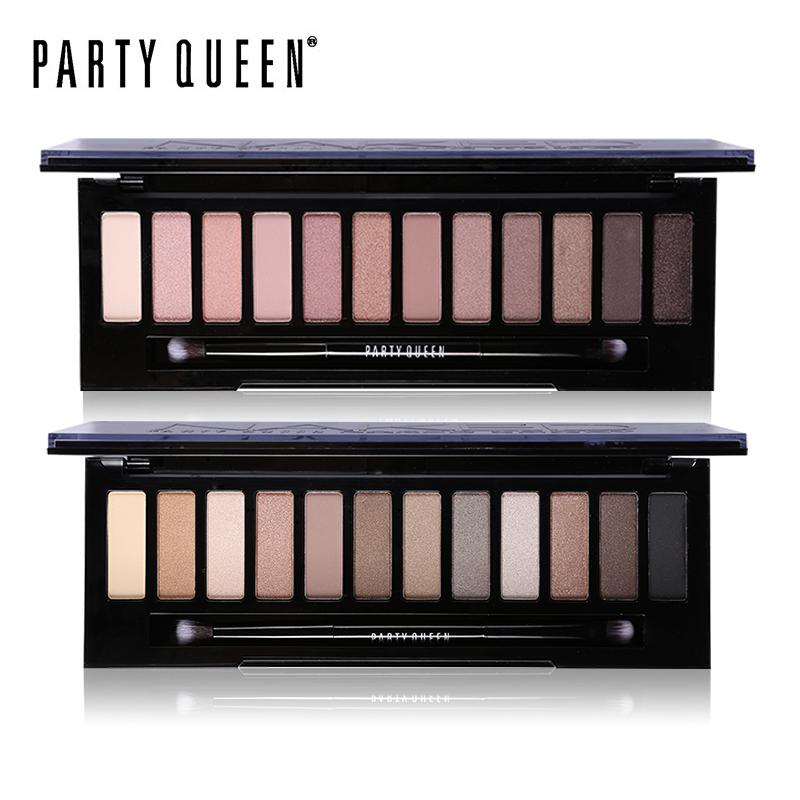 Party Queen 12 Colors Shimmer Matte Nude Eye Shadow Palette Makeup Neutral Glitter Smoky Eyeshadow With Mirror +Dual Ended Brush