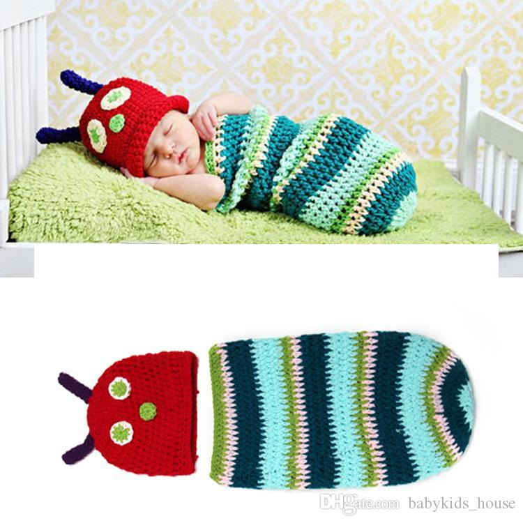 Crochet Striped Caterpillar Baby Photography Props Knitted Crochet Newborn Baby Hats&Cocoon Sets Newborn Shower Gift