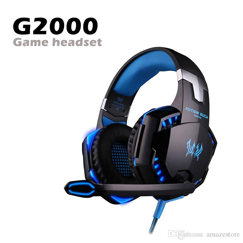G2000 Gaming Headset Over-Ear Gaming Headphones حول الضوضاء ستيريو المحيطي مع ميكروفون الصمام الخفيفة لنينتندو تبديل لعبة الكمبيوتر في مربع