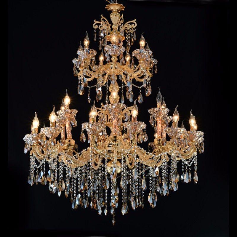 Lampadario in cristallo Vintage Big Gold Pendant Lamp Lamps Light Fixture per soggiorno Camera da letto Progetto hotel Illuminazione da interno MD2117
